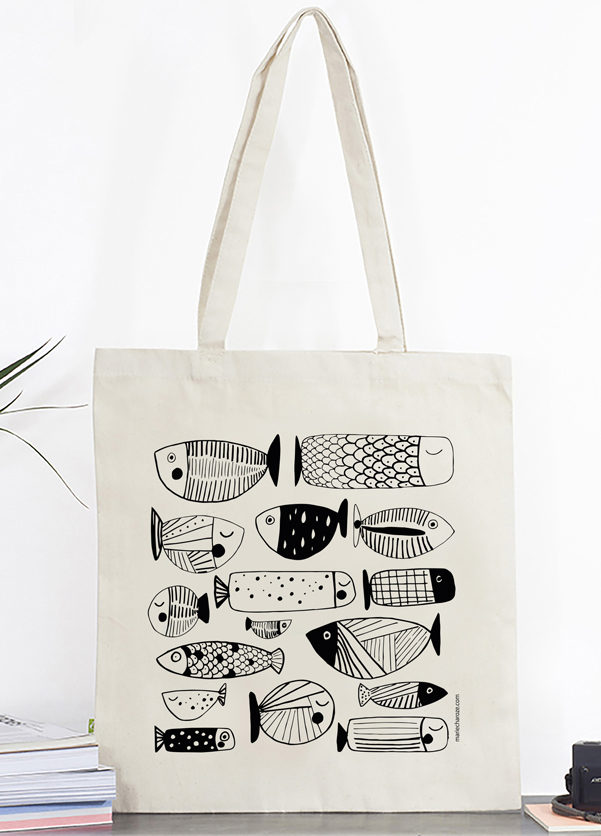 Tote bag Poissons